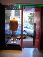 входная группа со стеклянной маятниковой дверью и встроенными рольставнями